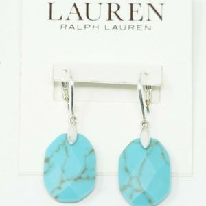Simulated Turquoise Stone Silver Tone Drop Earring